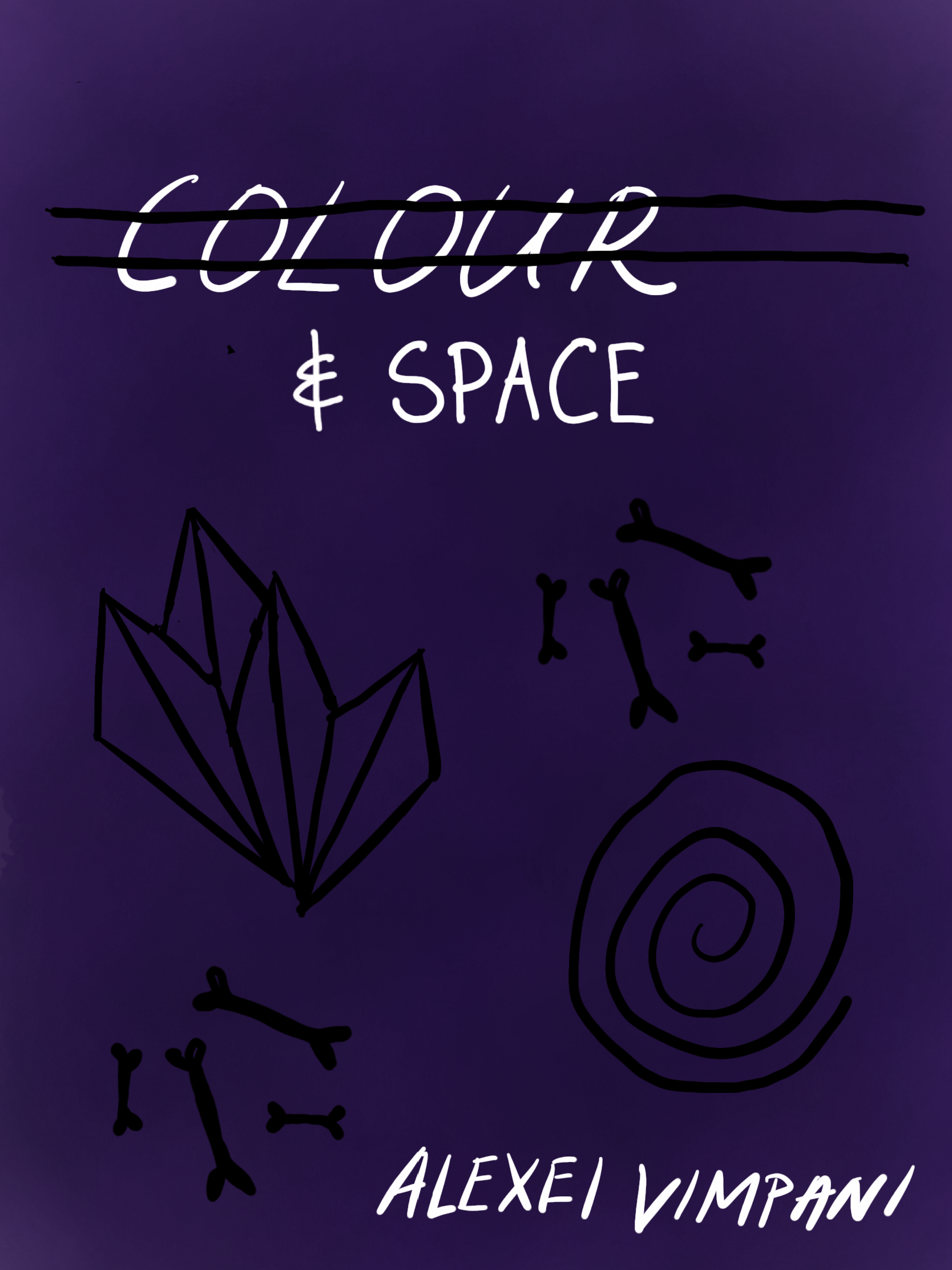 """""""Colour & Space"""" in white on purple background with black motifs."""