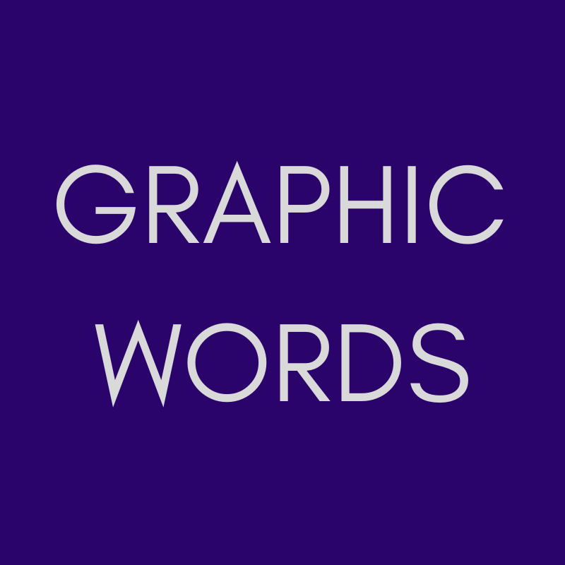 """""""GRAPHIC WORDS"""" in pale grey on a purple background."""