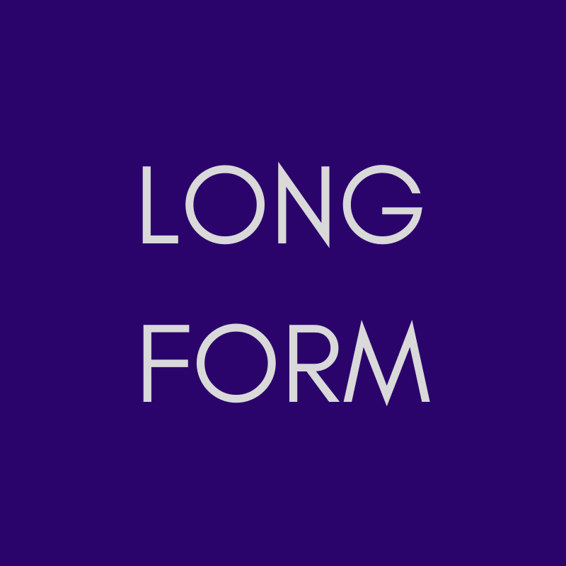 """""""LONG FORM"""" in pale grey on a purple background."""