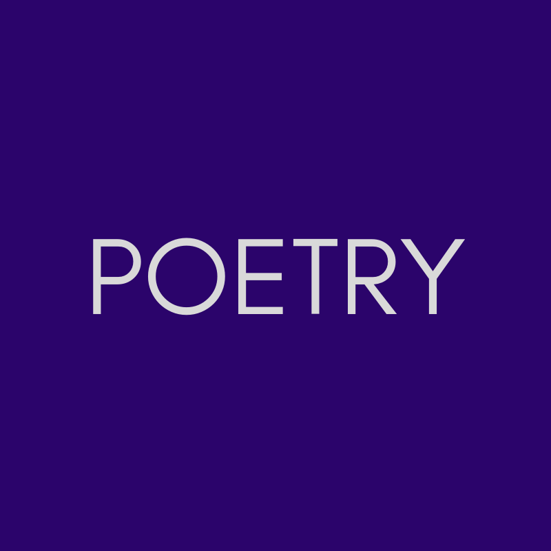 """""""POETRY"""" in pale grey on a purple background."""