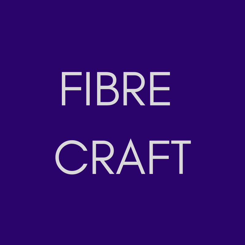 """""""FIBRE CRAFT"""" in pale grey on a purple background."""