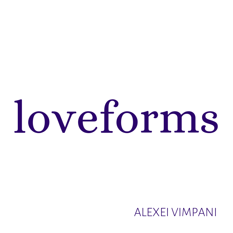 """""""loveforms"""" in purple against a white background."""
